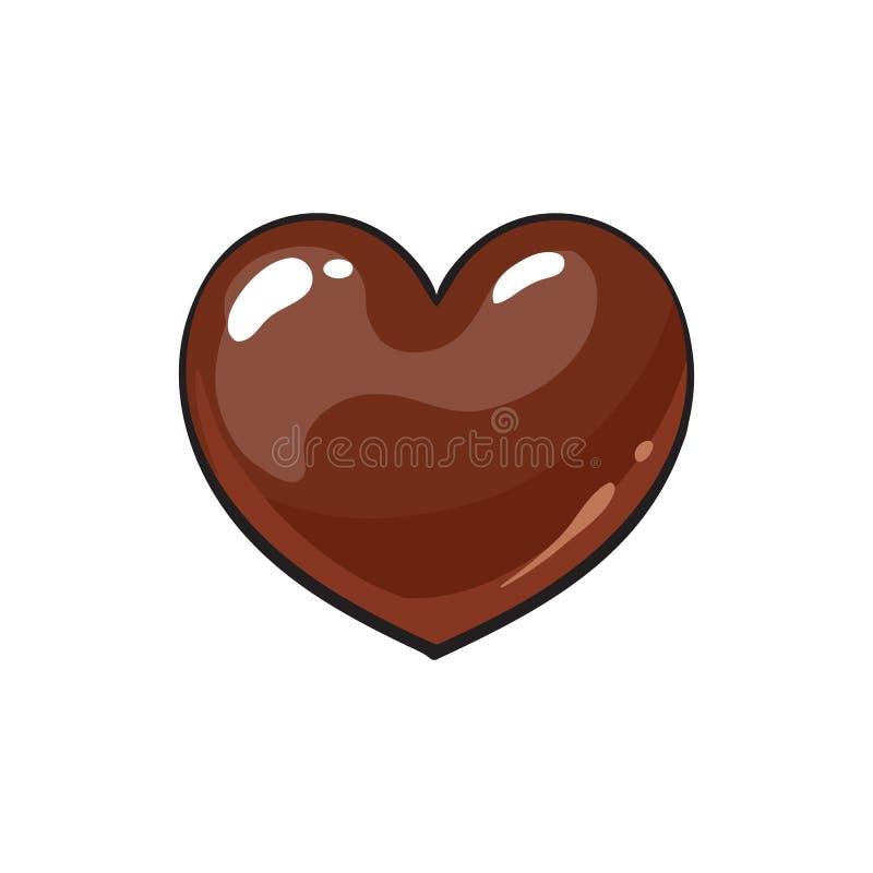 Bonbons au chocolat foncés en forme de coeur illustration libre de droits