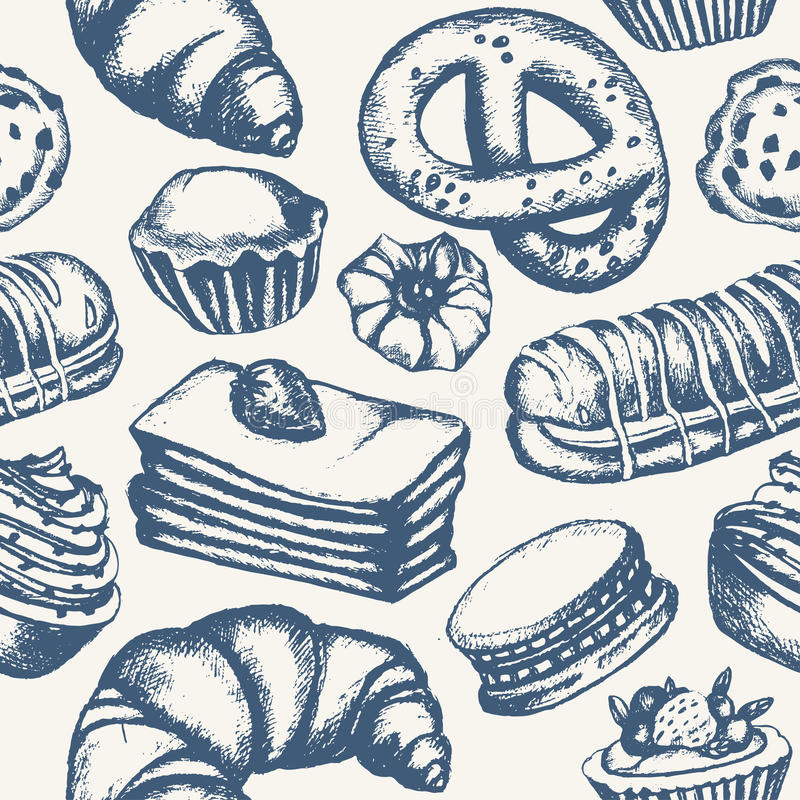 Bonbons délicieux - modèle sans couture tiré par la main monochromatique illustration de vecteur