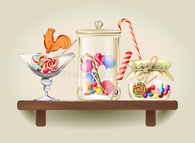 Bonbons in den Glasgefäßen auf hölzernem Regal vektor abbildung