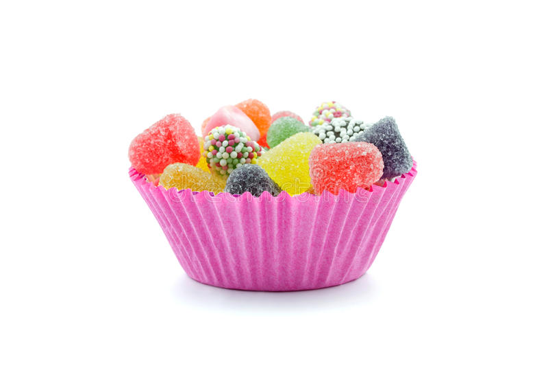 Bonbons in der rosa Schüssel stockfotografie