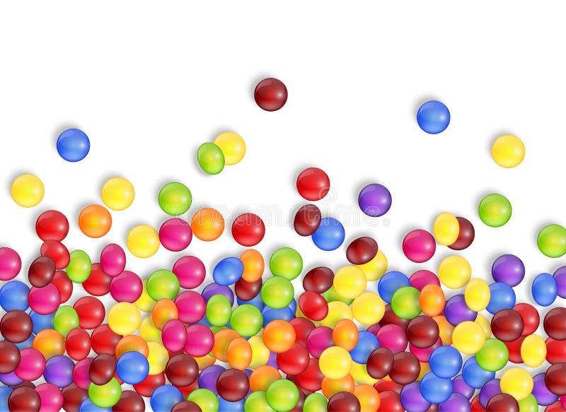 Bonbons des sucreries avec un fond blanc illustration stock