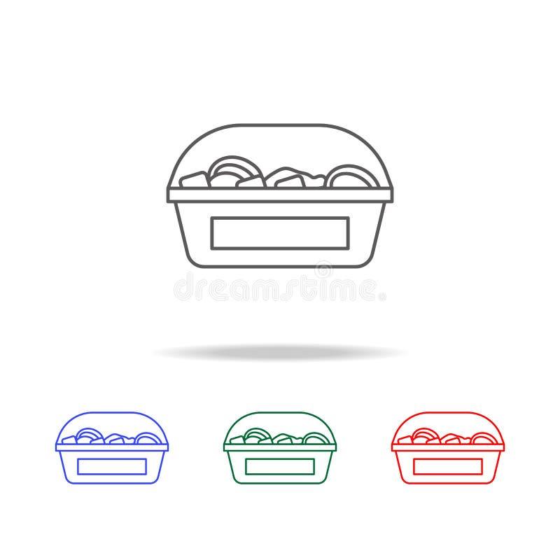 Bonbons in einer Kastenikone Elemente des Gemischtwarenladens in den multi farbigen Ikonen Erstklassige Qualitätsgrafikdesignikon stock abbildung