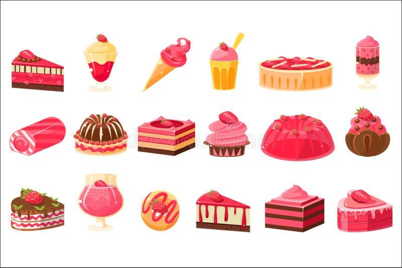 Bonbons et desserts roses grand ensemble, petits g?teaux, cr?me glac?e, g?teaux avec l'illustration de vecteur de saveur de frais illustration de vecteur