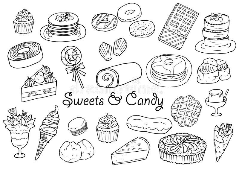 Bonbons et ensemble tirés par la main d'illustration de sucrerie photos stock