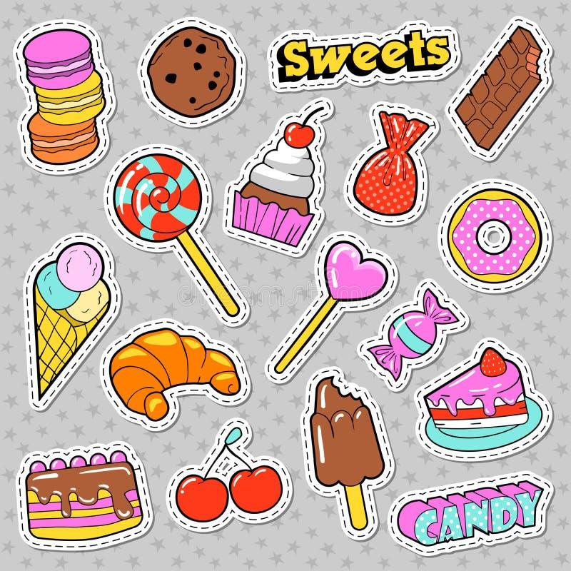 Bonbons et griffonnage de boulangerie Sucreries, insignes de crème glacée et de macaron, corrections et autocollants illustration libre de droits