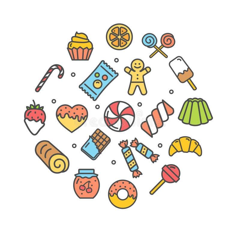 Bonbons et ligne mince ensemble d'icône de boulangerie Vecteur illustration stock