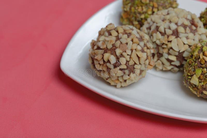 Bonbons faits maison Truffes de chocolat images libres de droits