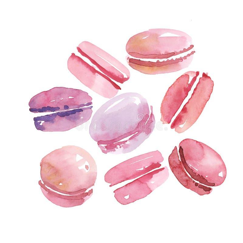 Bonbons français macarons assortis par vanille rose de couleur illustration libre de droits