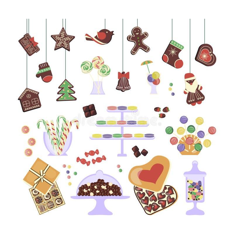 Bonbons und Kuchen eingestellt lizenzfreie abbildung