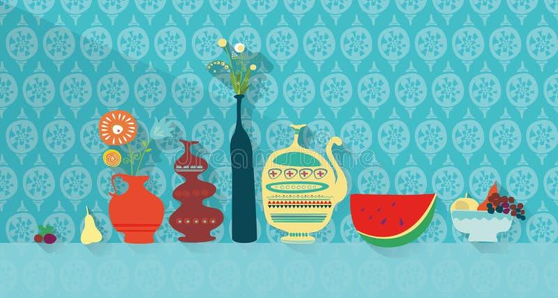 Bonbons und Nachtisch auf dem Tisch stock abbildung