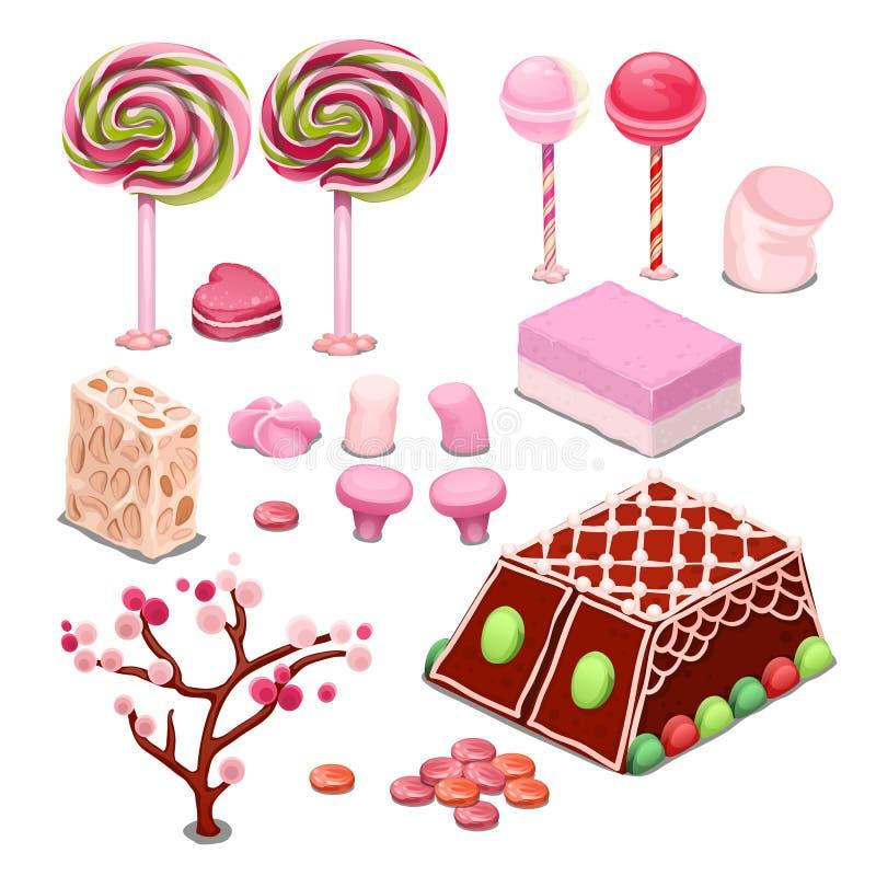 Bonbons und Süßigkeit lokalisiert auf einem weißen Hintergrund Bunte Konfektionsartikel das beste Geschenk für das Schleckermaul  vektor abbildung