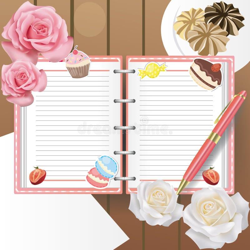 Bonbontagebuch mit Zeile und einem Kugelschreiber lizenzfreie abbildung