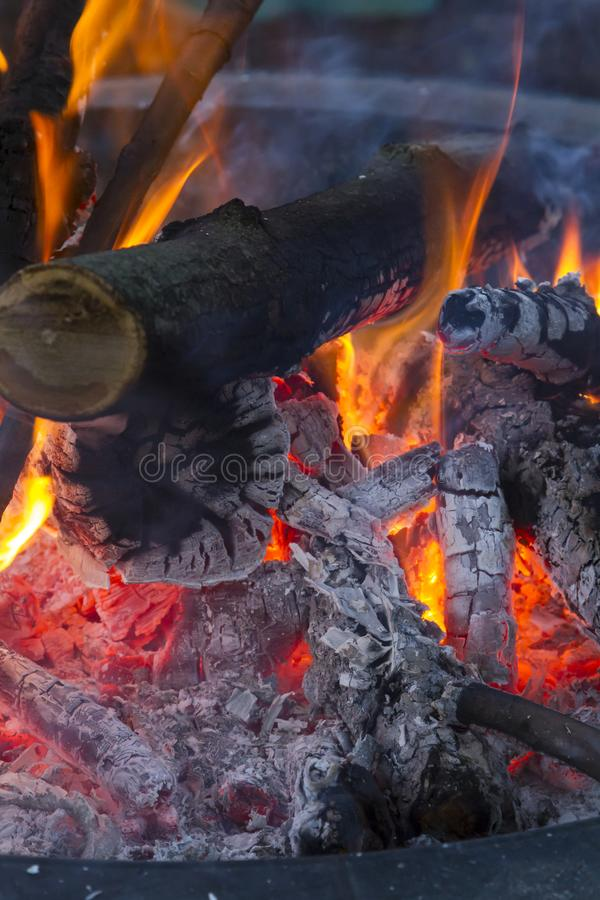 Bond fire. Camp fire in a fire pit stock photography