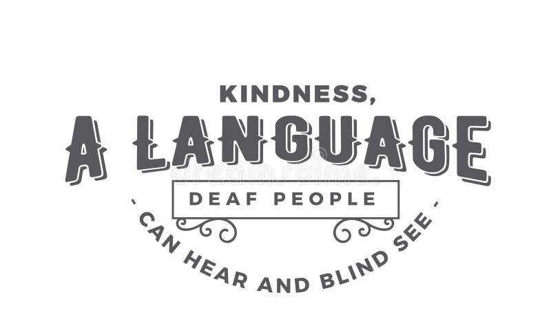 A bondade, um pessoa surdo da língua pode ouvir-se e cortinas para considerar ilustração royalty free