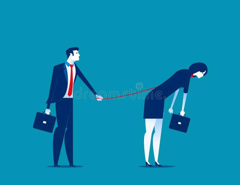 Bondage. Manager controlling his subordinates. Concept business vector illustration. Cartoon royalty free illustration