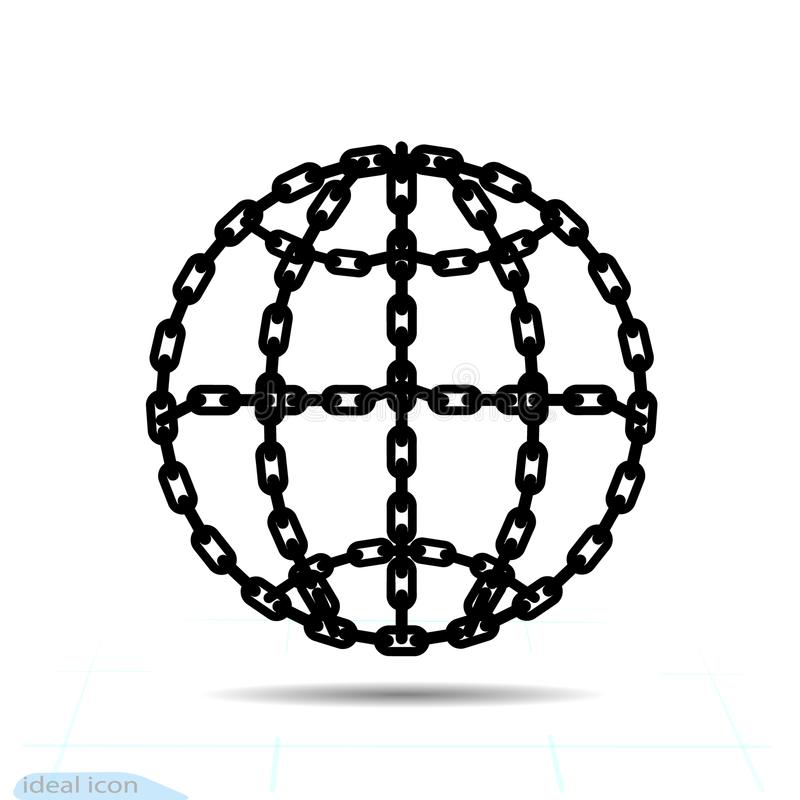 Bondage outline Globe Element In Trendy Style. Chain Icon in world connection symbol for your web site design, logo, app, UI. Vect. Or illustration, EPS10 stock illustration