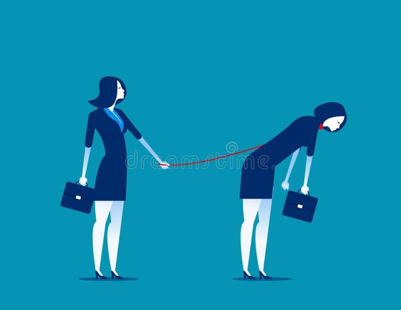 bondage Responsabile che controlla i suoi subalterni Illustrazione di vettore di affari di concetto illustrazione vettoriale