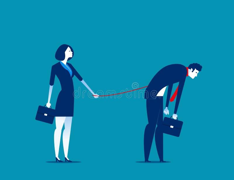 bondage Responsabile che controlla i suoi subalterni Illustrazione di vettore di affari di concetto illustrazione di stock