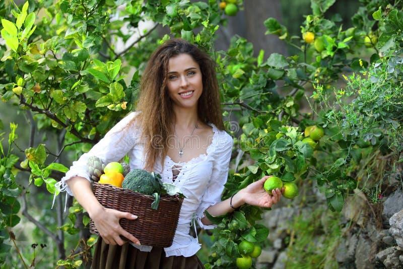 Bondaktig flicka som väljer några mogna citroner från ett träd royaltyfria foton
