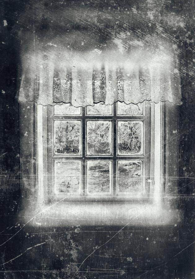 Bondaktiga fönstergrå färger arkivfoton