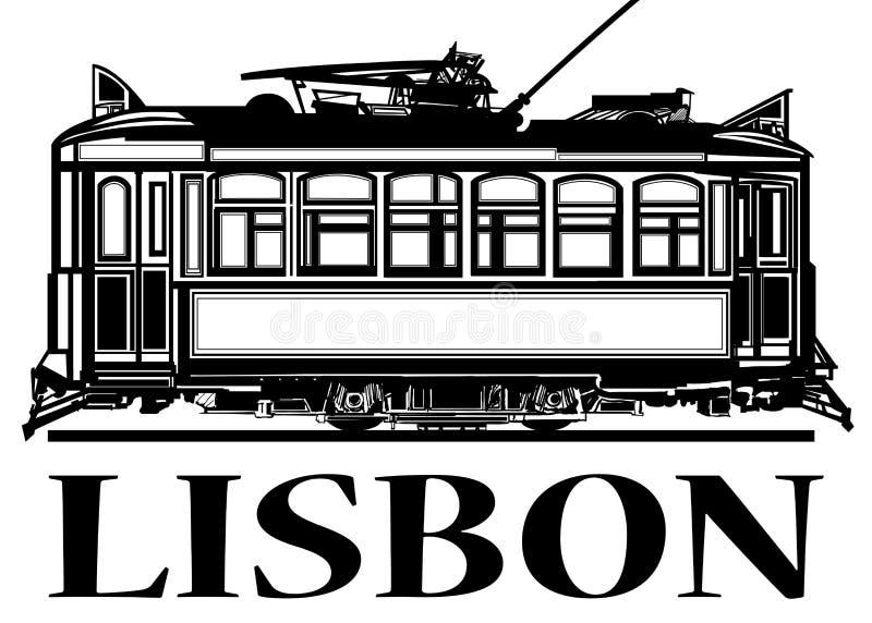Bonde clássico velho de Lisboa ilustração do vetor