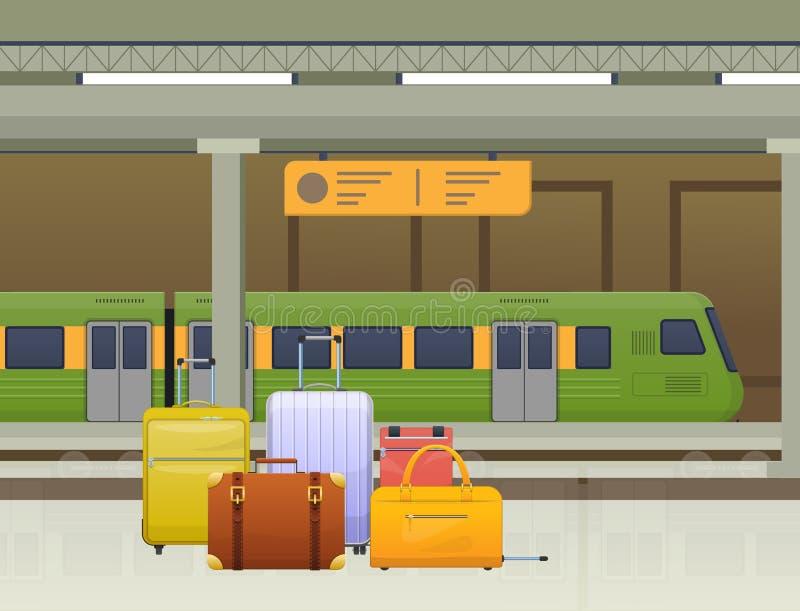 Bonde do metro, transporte público para povos, metro Trem, estação subterrânea ilustração do vetor
