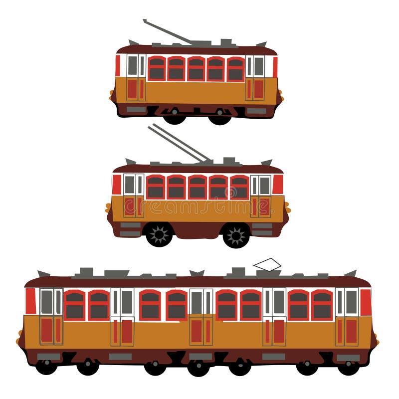 Bonde do vintage, trem bonde, ônibus bonde retro Detalhe a ideia do lado do transporte bonde Bonde do turista amarelo ilustração stock