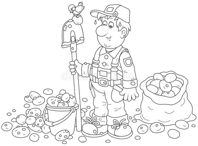 Bonde med hans potatisskörd vektor illustrationer