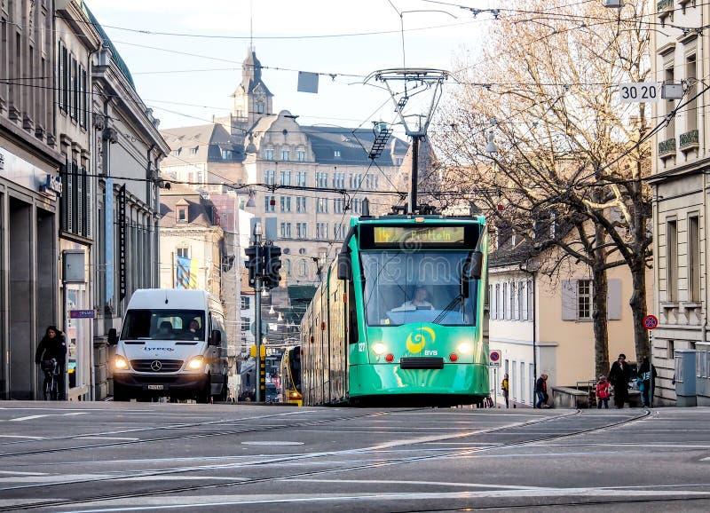 Bonde no serviço em Basileia, Suíça fotografia de stock royalty free