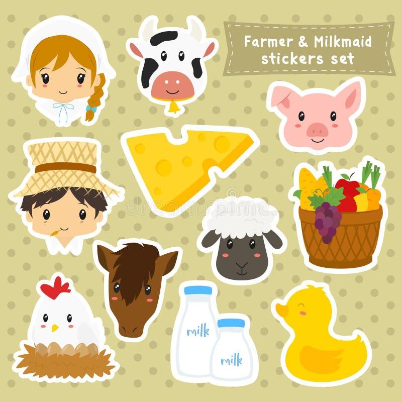 Bonde och mjölkerska Sticker Vector Set vektor illustrationer
