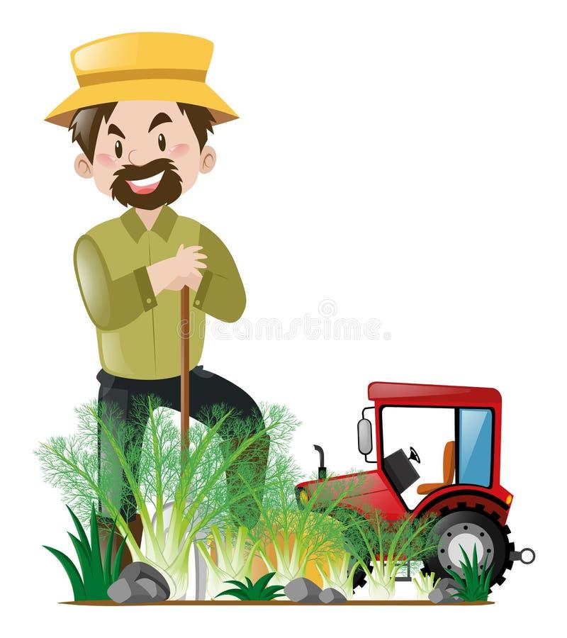 Bonde och traktor i lantgården royaltyfri illustrationer