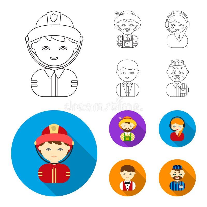 Bonde operatör, uppassare, fånge Fastställda samlingssymboler för yrke i översikten, materiel för symbol för lägenhetstilvektor stock illustrationer