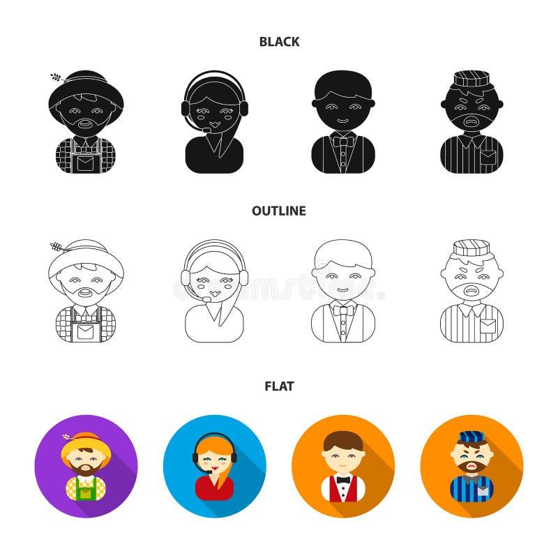 Bonde operatör, uppassare, fånge Fastställda samlingssymboler för yrke i svart, lägenhet, materiel för symbol för översiktsstilve stock illustrationer