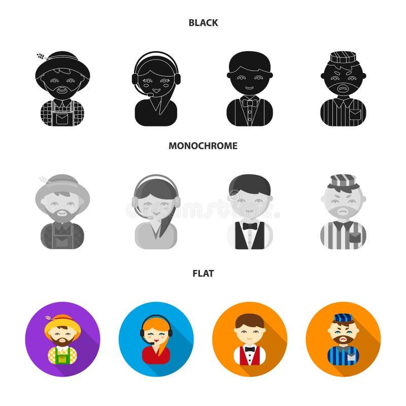 Bonde operatör, uppassare, fånge Fastställda samlingssymboler för yrke i svart, lägenhet, monokromt materiel för stilvektorsymbol stock illustrationer