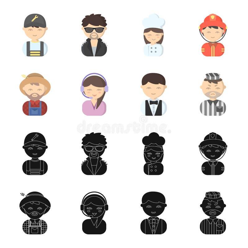 Bonde operatör, uppassare, fånge Fastställda samlingssymboler för yrke i svart, materiel för symbol för tecknad filmstilvektor stock illustrationer
