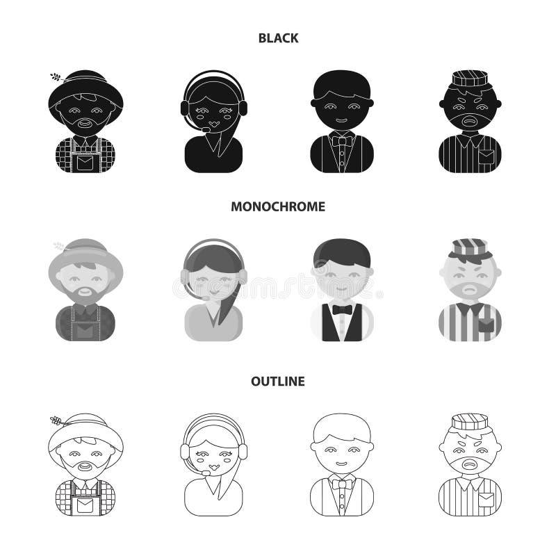 Bonde operatör, uppassare, fånge Fastställda samlingssymboler för yrke i svart, monokrom, materiel för symbol för översiktsstilve royaltyfri illustrationer