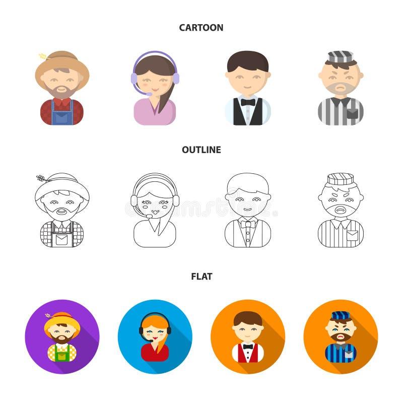 Bonde operatör, uppassare, fånge Fastställda samlingssymboler för yrke i tecknade filmen, översikt, materiel för symbol för lägen stock illustrationer