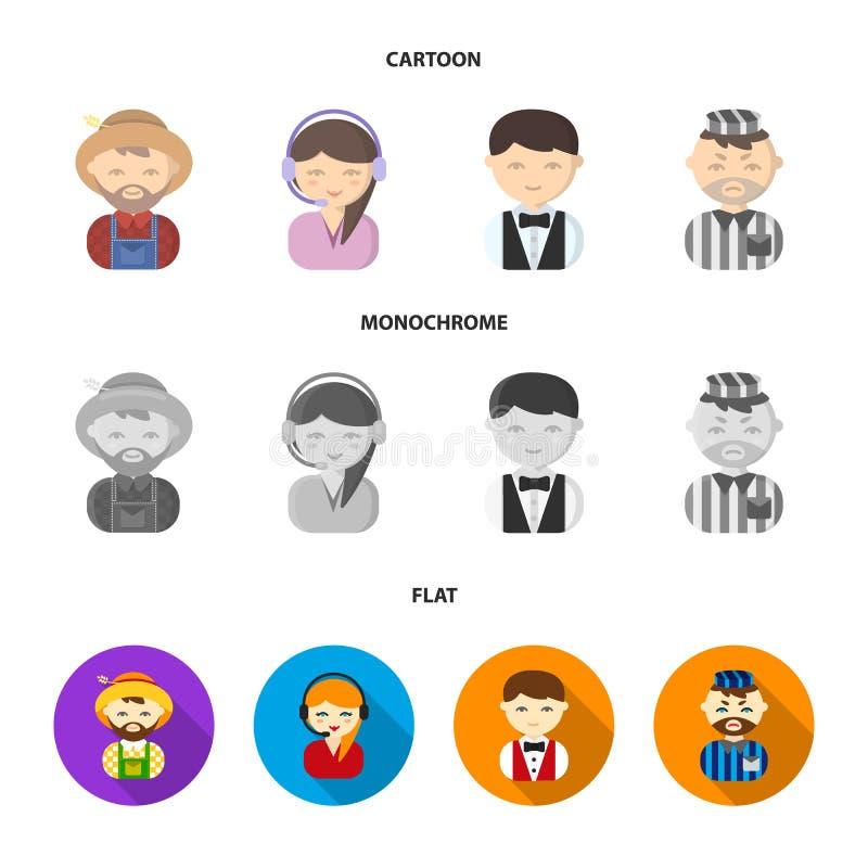 Bonde operatör, uppassare, fånge Fastställda samlingssymboler för yrke i tecknade filmen, lägenhet, monokromt materiel för stilve vektor illustrationer