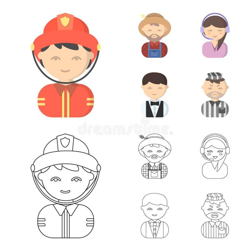 Bonde operatör, uppassare, fånge Fastställda samlingssymboler för yrke i tecknade filmen, materiel för symbol för översiktsstilve stock illustrationer