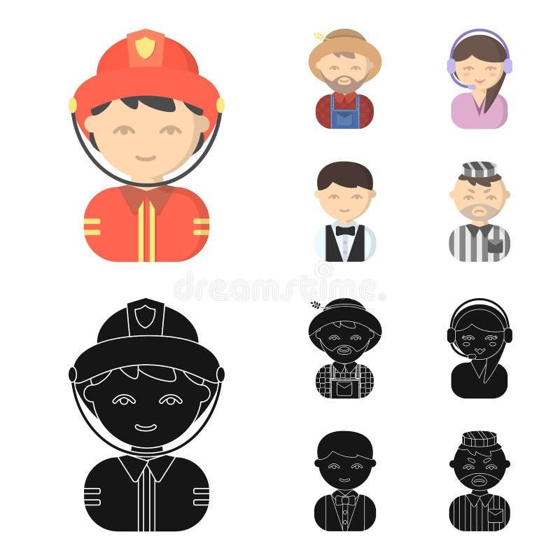 Bonde operatör, uppassare, fånge Fastställda samlingssymboler för yrke i tecknade filmen, svart materiel för stilvektorsymbol vektor illustrationer