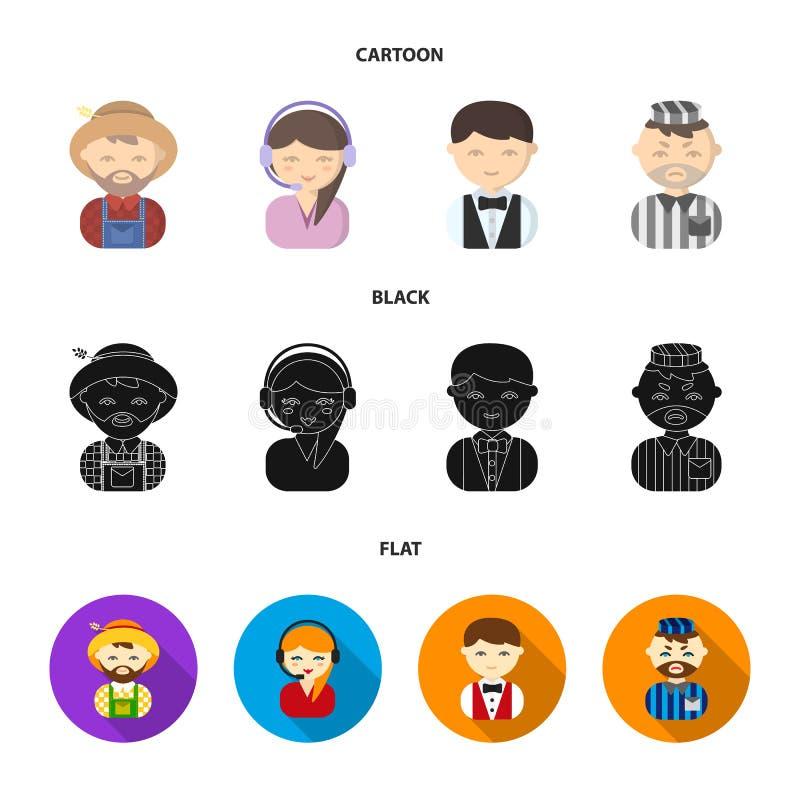 Bonde operatör, uppassare, fånge Fastställda samlingssymboler för yrke i tecknade filmen, svart, materiel för symbol för lägenhet vektor illustrationer