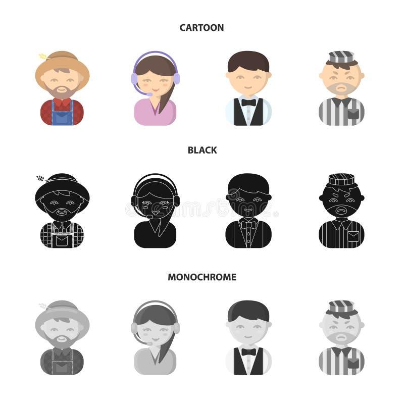 Bonde operatör, uppassare, fånge Fastställda samlingssymboler för yrke i tecknade filmen, svart, monokromt materiel för stilvekto royaltyfri illustrationer