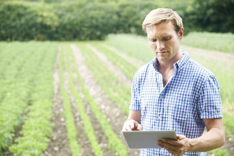 Bonde On Organic Farm som använder den Digital minnestavlan royaltyfri foto