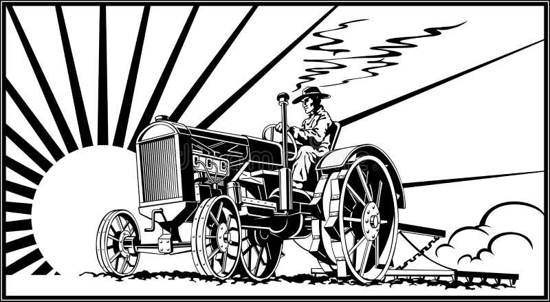 Bonde på en traktor i fältvektorn royaltyfri illustrationer