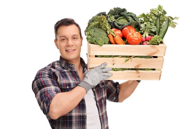 Bonde som bär en spjällåda med grönsaker arkivfoton