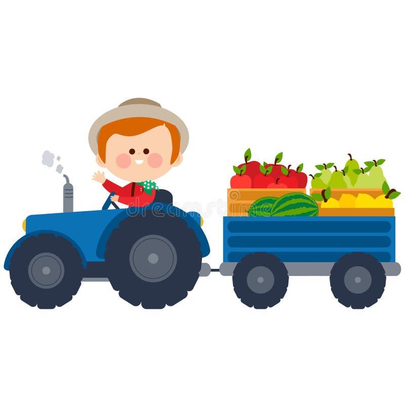 Bonde som kör en traktor och bär frukter stock illustrationer