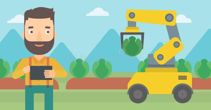 Bonde som kontrollerar arbete av roboten på fältet stock illustrationer