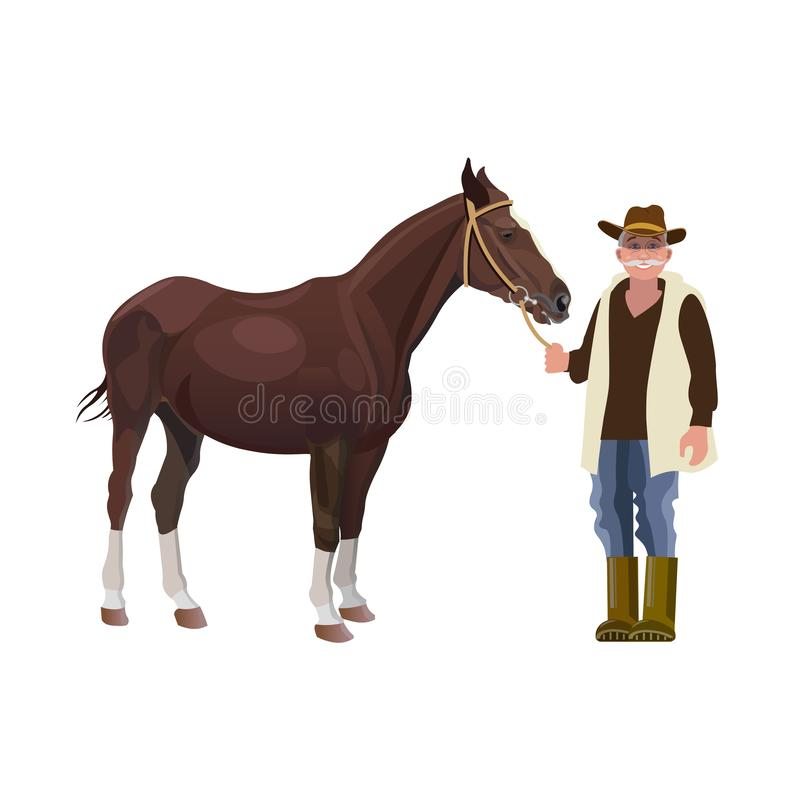 Bonde som rymmer en häst stock illustrationer