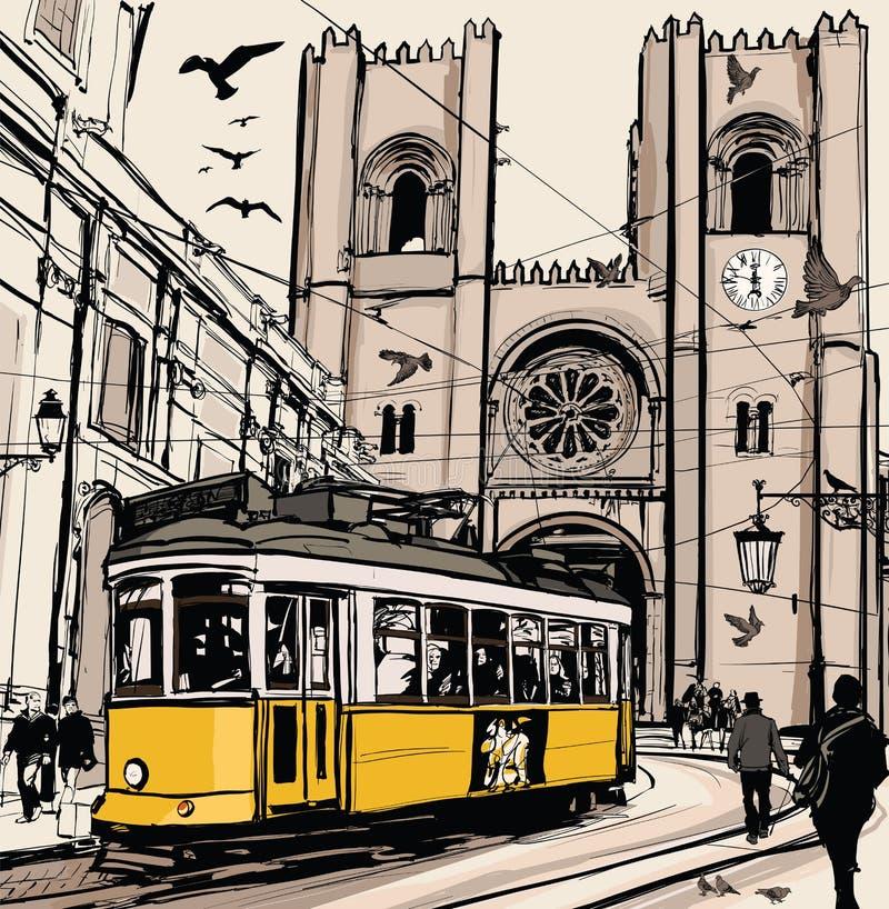 Bonde típico em Lisboa perto da catedral do SE ilustração stock