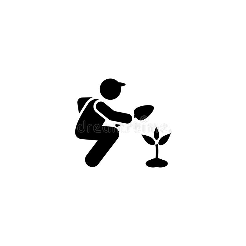 Bonde trädgårdsmästare, växtsymbol Best?ndsdel av att arbeta i tr?dg?rden symbolen H?gv?rdig kvalitets- symbol f?r grafisk design stock illustrationer